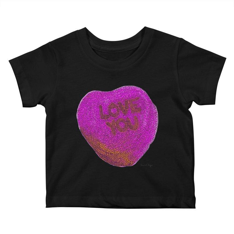 LOVE YOU Electric Pink + Orange Kids Baby T-Shirt by Daniel Dugan's Artist Shop