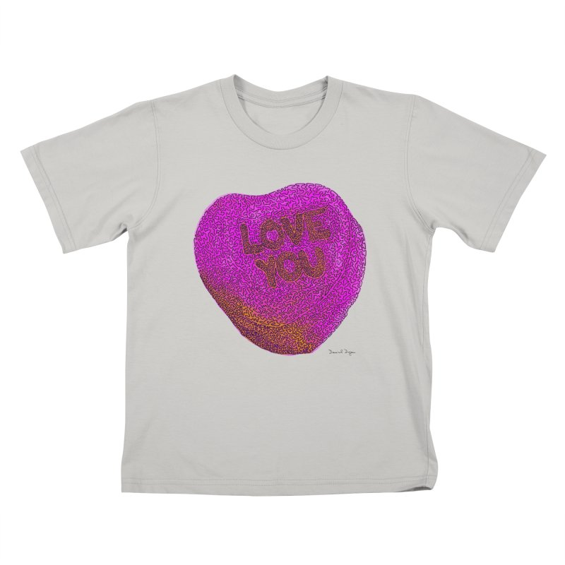 LOVE YOU Electric Pink + Orange Kids T-shirt by Daniel Dugan's Artist Shop