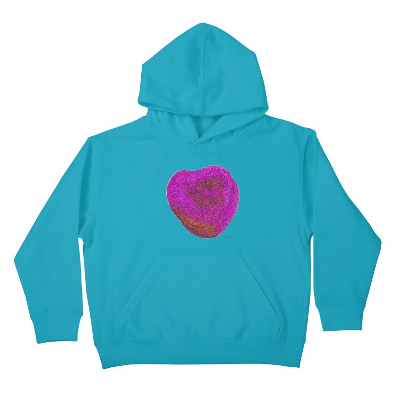 LOVE YOU Electric Pink + Orange Kids Pullover Hoody by Daniel Dugan's Artist Shop