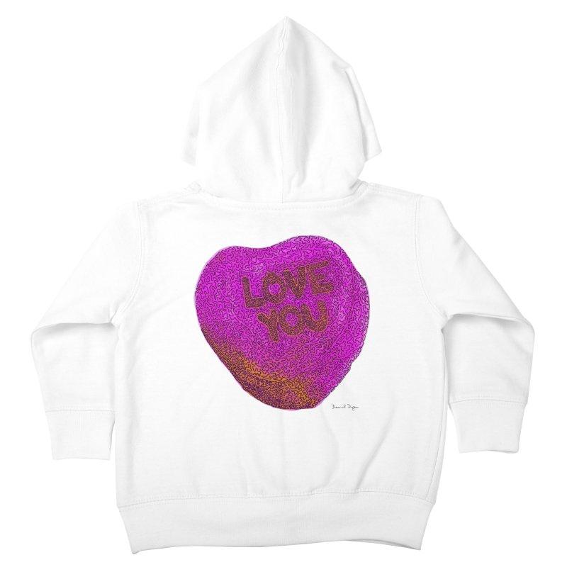 LOVE YOU Electric Pink + Orange Kids Toddler Zip-Up Hoody by Daniel Dugan's Artist Shop