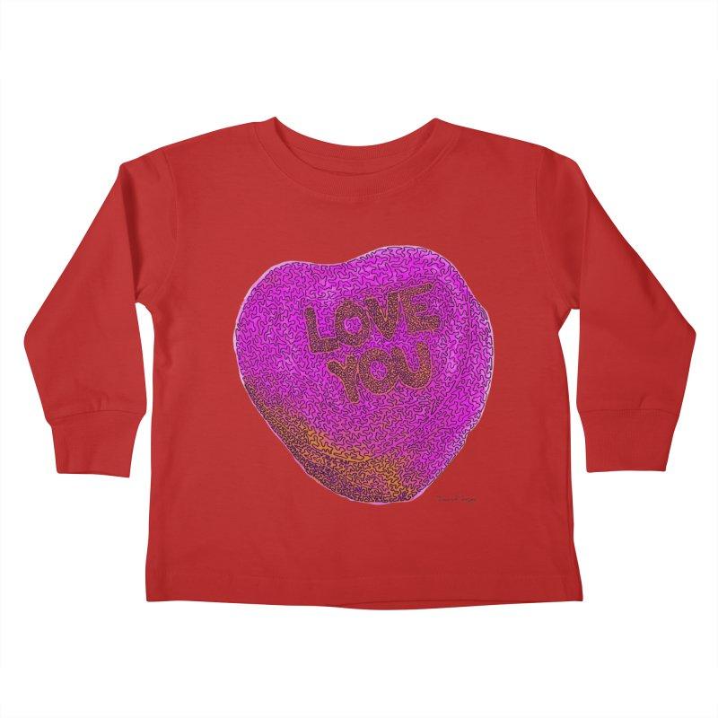 LOVE YOU Electric Pink + Orange Kids Toddler Longsleeve T-Shirt by Daniel Dugan's Artist Shop