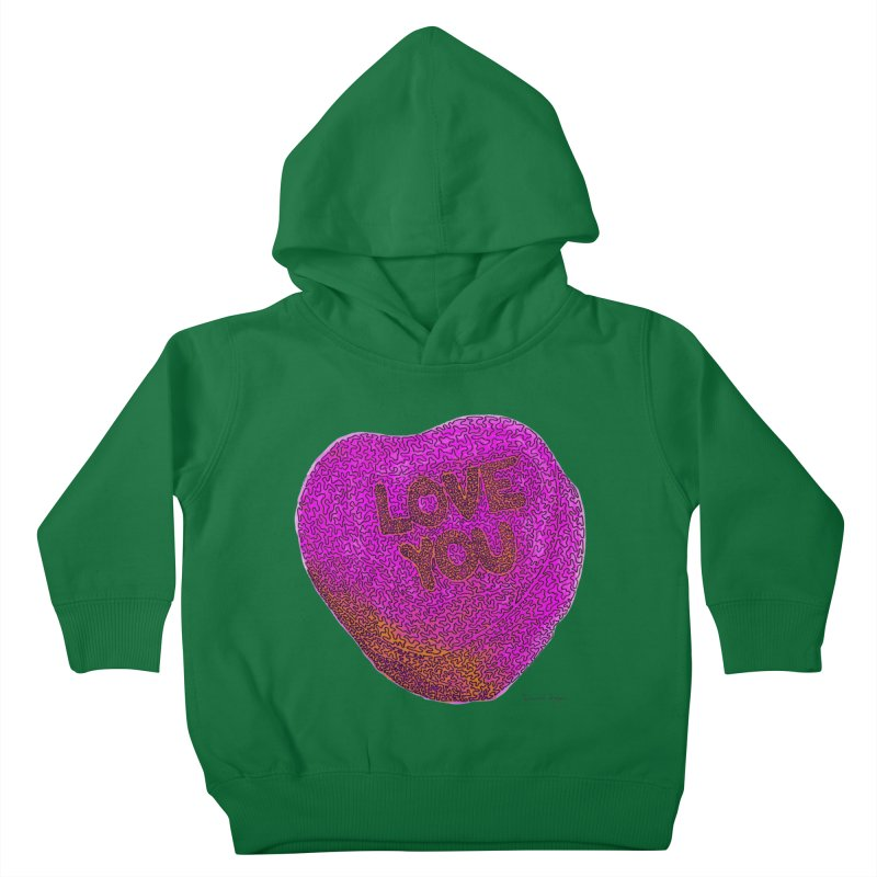 LOVE YOU Electric Pink + Orange Kids Toddler Pullover Hoody by Daniel Dugan's Artist Shop