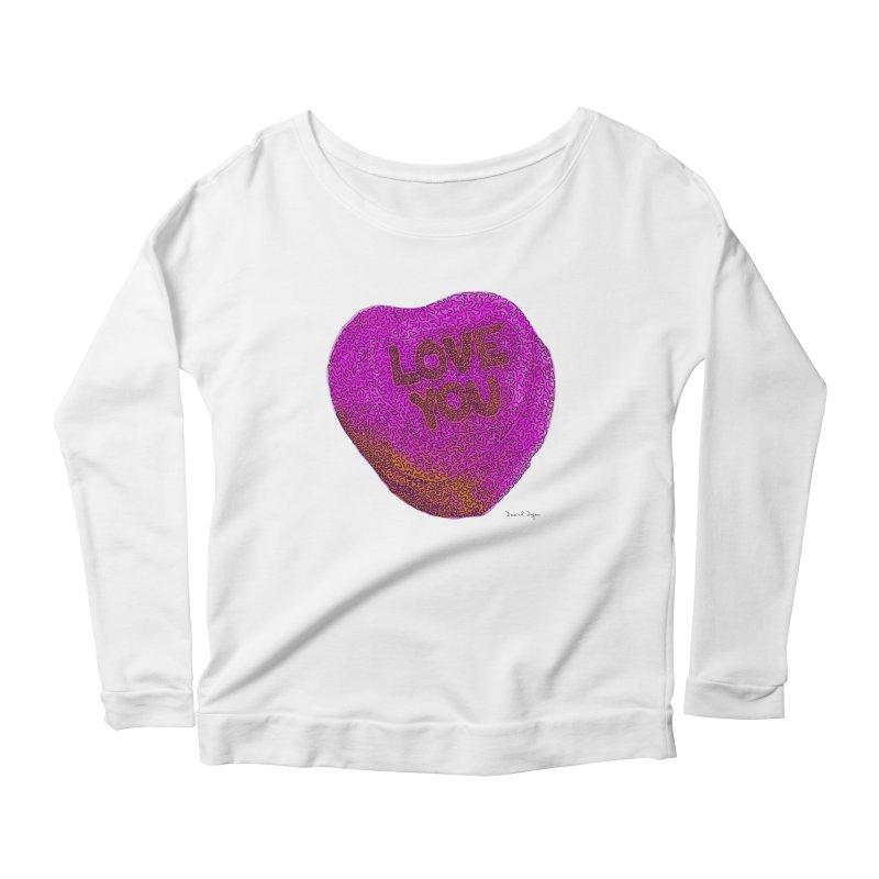 LOVE YOU Electric Pink + Orange Women's Longsleeve Scoopneck  by Daniel Dugan's Artist Shop