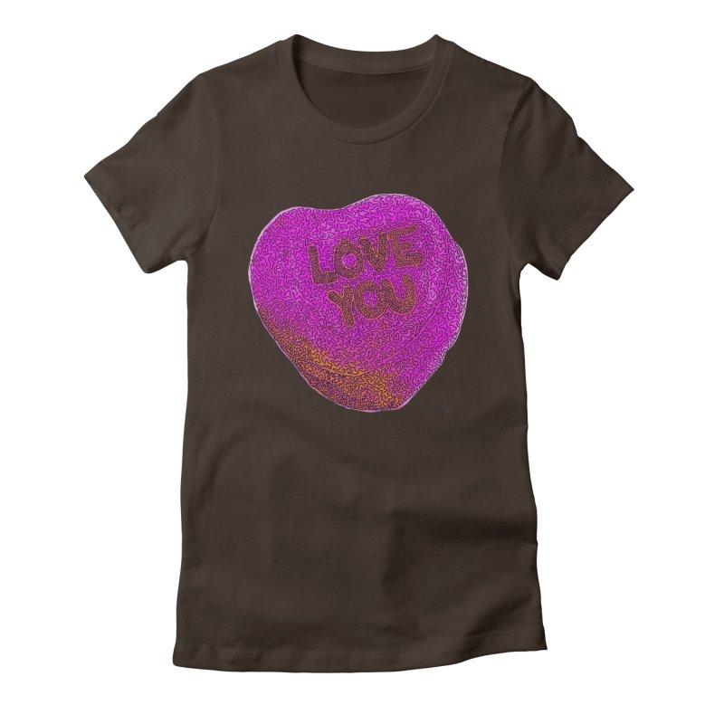 LOVE YOU Electric Pink + Orange Women's Fitted T-Shirt by Daniel Dugan's Artist Shop