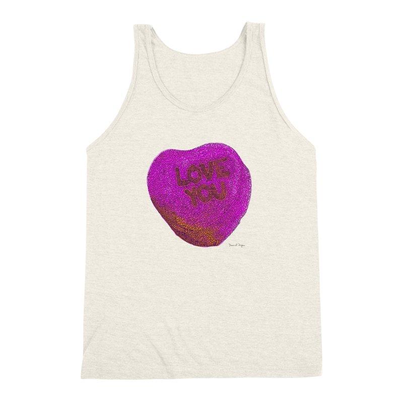 LOVE YOU Electric Pink + Orange Men's Triblend Tank by Daniel Dugan's Artist Shop