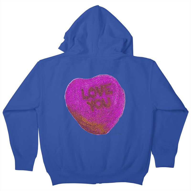 LOVE YOU Electric Pink + Orange Kids Zip-Up Hoody by Daniel Dugan's Artist Shop