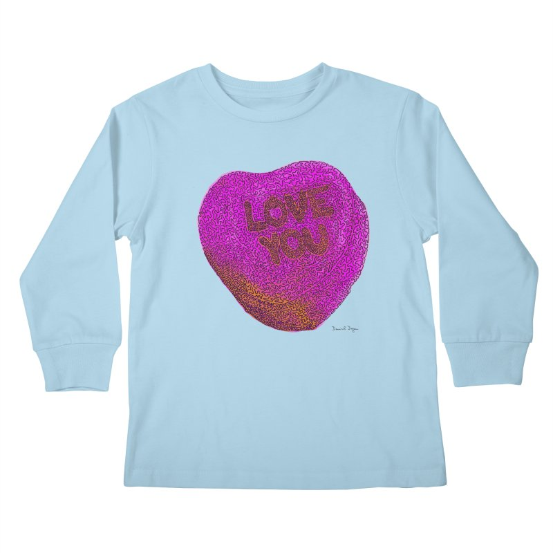 LOVE YOU Electric Pink + Orange Kids Longsleeve T-Shirt by Daniel Dugan's Artist Shop