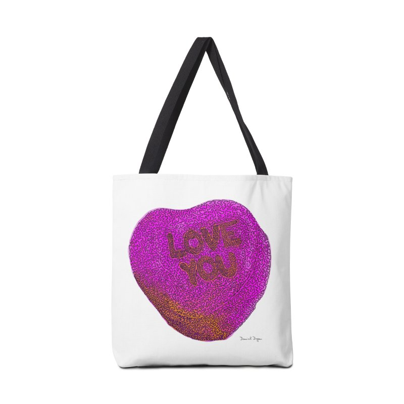 LOVE YOU Electric Pink + Orange Accessories Bag by Daniel Dugan's Artist Shop