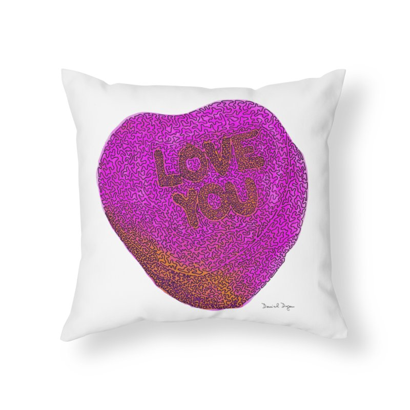 LOVE YOU Electric Pink + Orange Home Throw Pillow by Daniel Dugan's Artist Shop