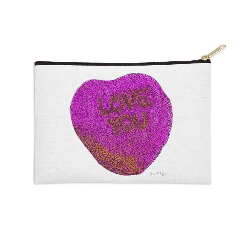 LOVE YOU Electric Pink + Orange Accessories Zip Pouch by Daniel Dugan's Artist Shop