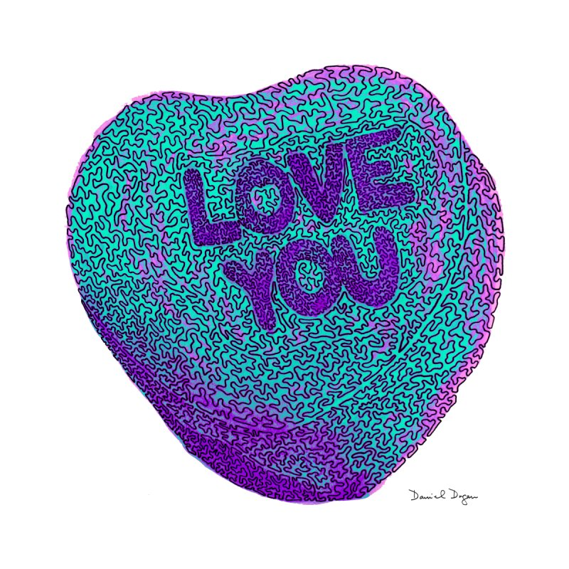 LOVE YOU Electric Mint None  by Daniel Dugan's Artist Shop