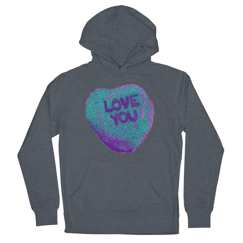 LOVE YOU Electric Mint Men's Pullover Hoody by Daniel Dugan's Artist Shop