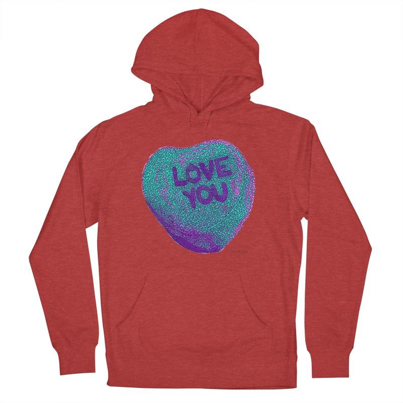 LOVE YOU Electric Mint Men's Pullover Hoody by Daniel Dugan's Artist Shop