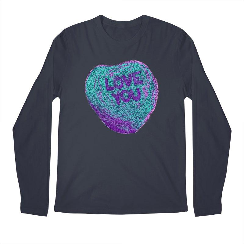 LOVE YOU Electric Mint Men's Longsleeve T-Shirt by Daniel Dugan's Artist Shop