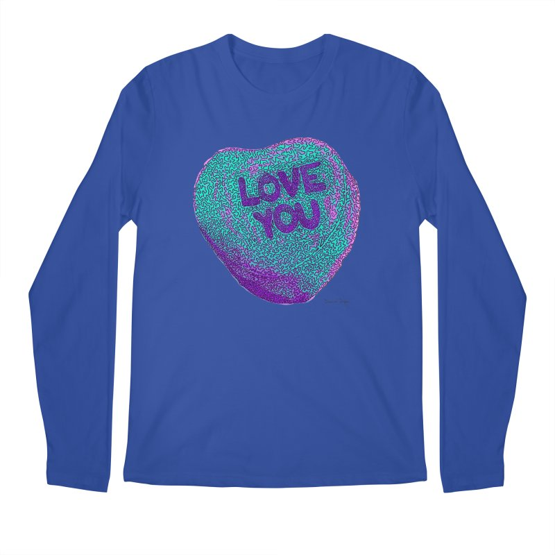 LOVE YOU Electric Mint Men's Longsleeve T-Shirt by Daniel Dugan's Artist Shop