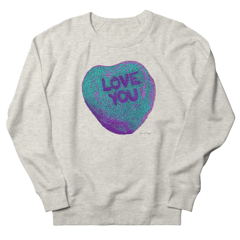 LOVE YOU Electric Mint Men's Sweatshirt by Daniel Dugan's Artist Shop