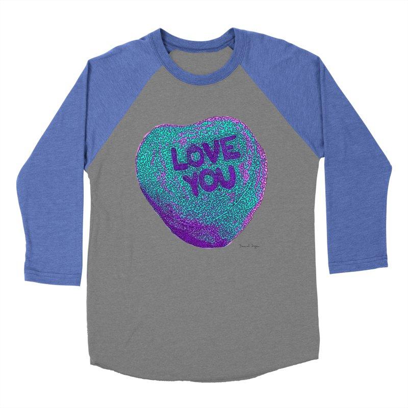 LOVE YOU Electric Mint Women's Baseball Triblend T-Shirt by Daniel Dugan's Artist Shop