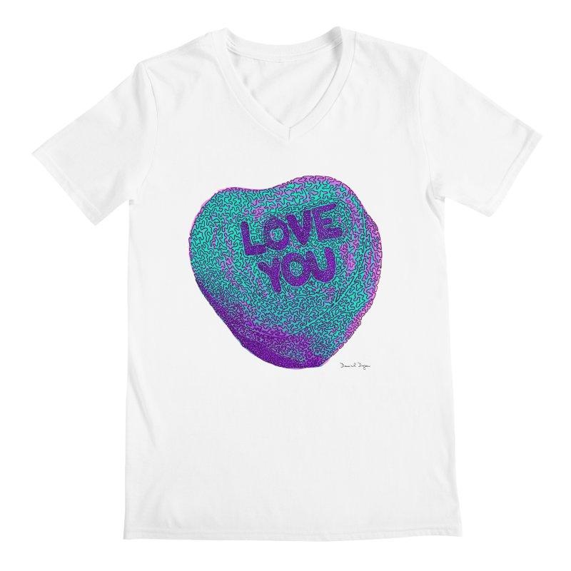 LOVE YOU Electric Mint Men's V-Neck by Daniel Dugan's Artist Shop