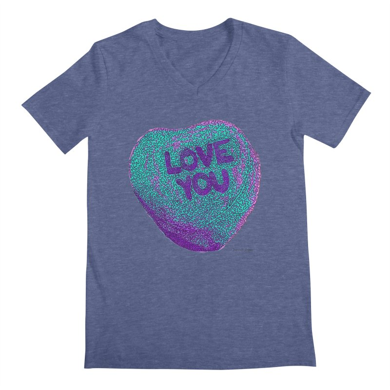 LOVE YOU Electric Mint Men's V-Neck by Daniel Dugan's Artist Shop
