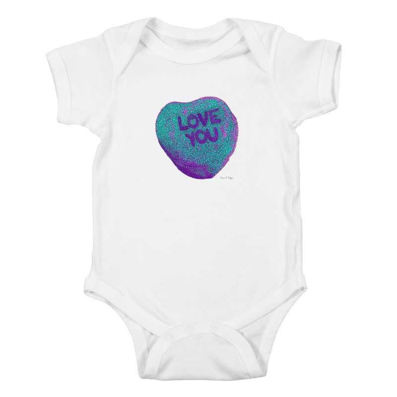 LOVE YOU Electric Mint Kids Baby Bodysuit by Daniel Dugan's Artist Shop