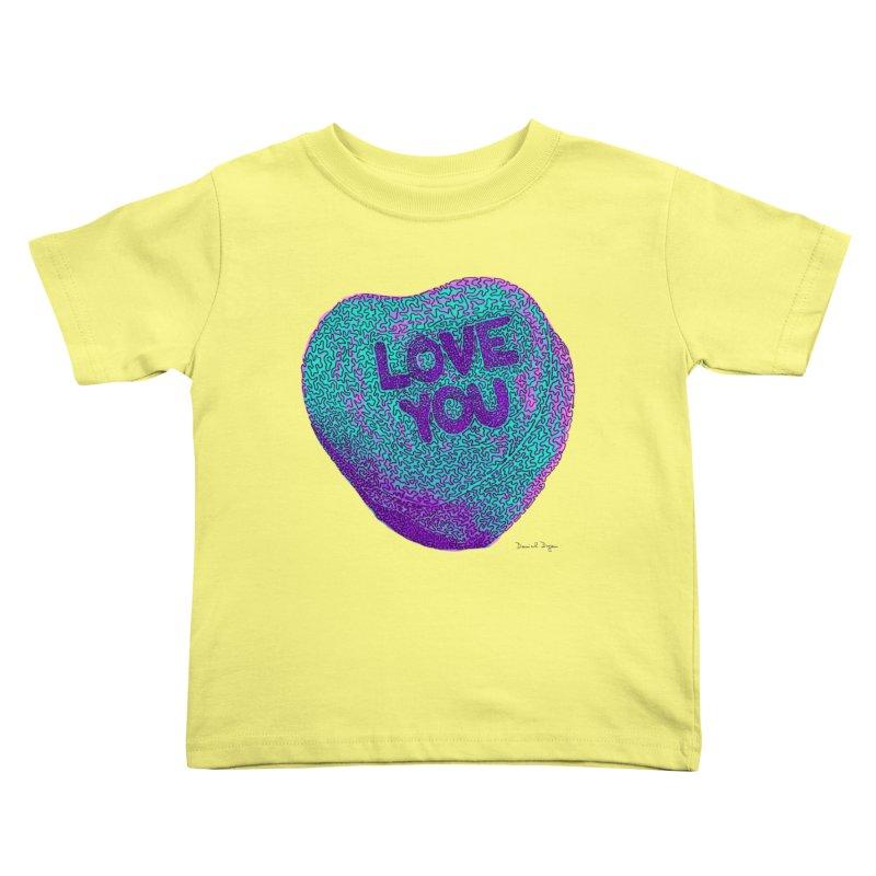LOVE YOU Electric Mint Kids Toddler T-Shirt by Daniel Dugan's Artist Shop