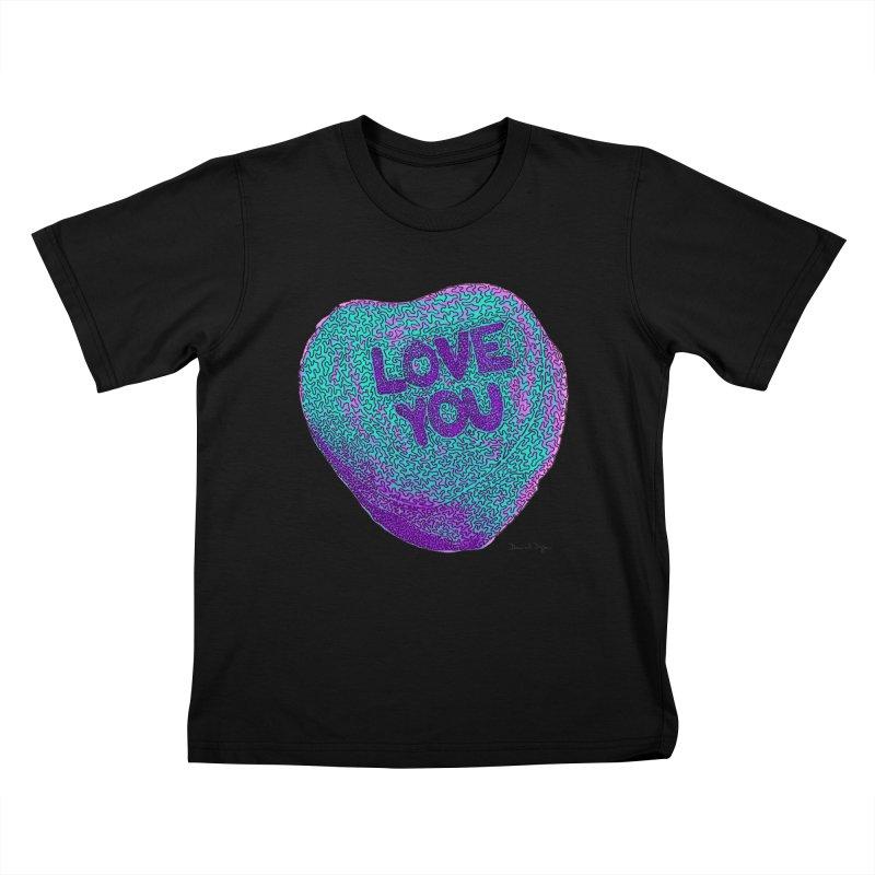 LOVE YOU Electric Mint Kids T-shirt by Daniel Dugan's Artist Shop