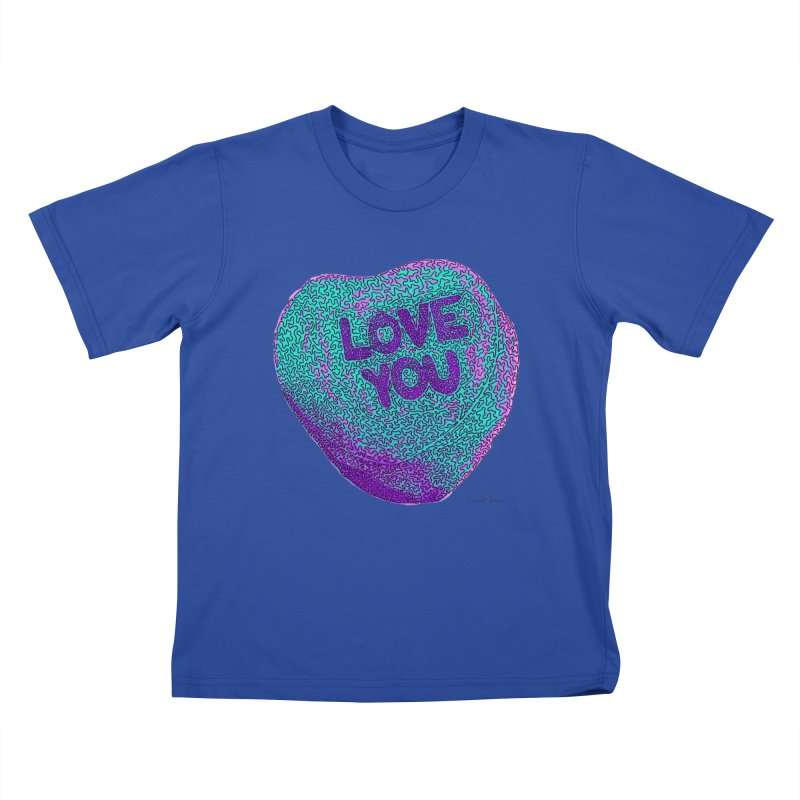 LOVE YOU Electric Mint Kids T-shirt by Daniel Dugan's Artist Shop