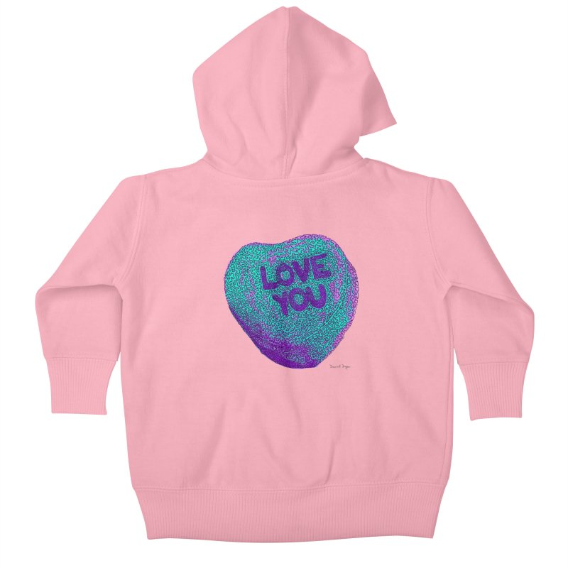 LOVE YOU Electric Mint Kids Baby Zip-Up Hoody by Daniel Dugan's Artist Shop