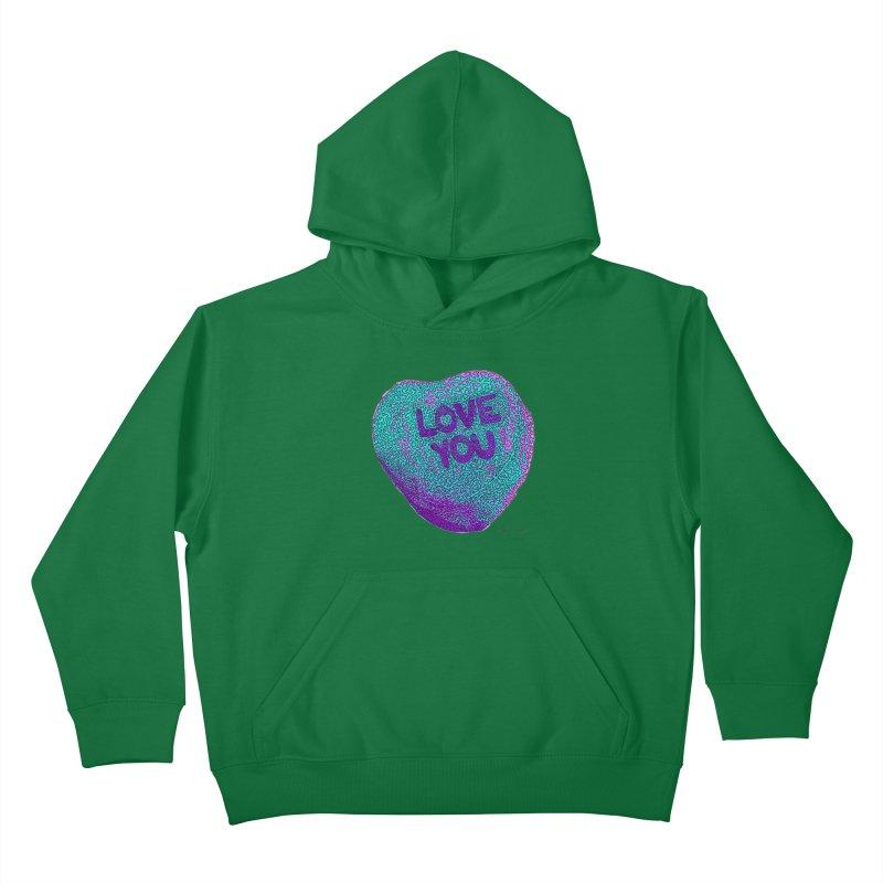 LOVE YOU Electric Mint Kids Pullover Hoody by Daniel Dugan's Artist Shop