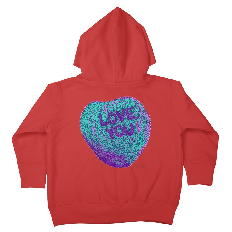 LOVE YOU Electric Mint Kids Toddler Zip-Up Hoody by Daniel Dugan's Artist Shop