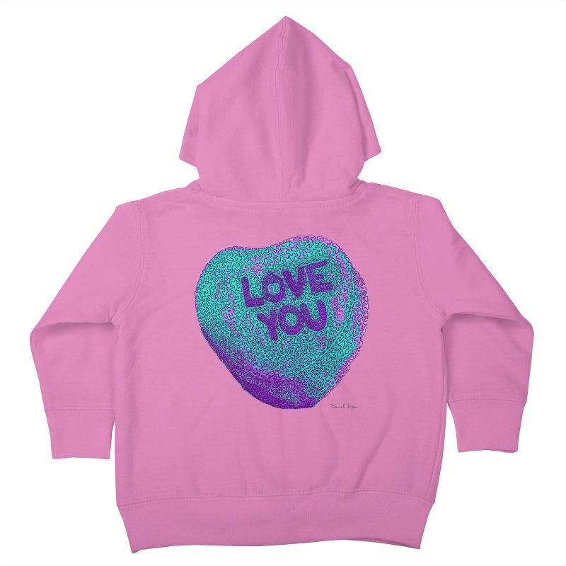 LOVE YOU Electric Mint Kids Toddler Zip-Up Hoody by Daniel Dugan's Artist Shop