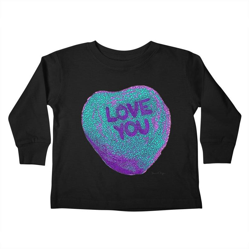 LOVE YOU Electric Mint Kids Toddler Longsleeve T-Shirt by Daniel Dugan's Artist Shop