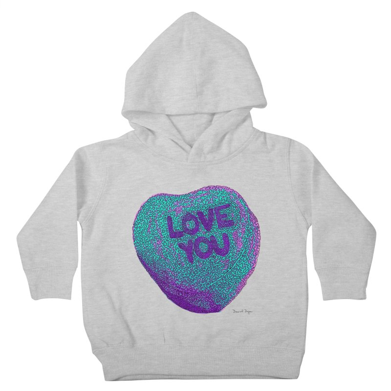 LOVE YOU Electric Mint Kids Toddler Pullover Hoody by Daniel Dugan's Artist Shop