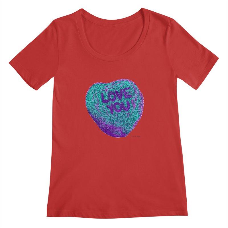 LOVE YOU Electric Mint Women's Scoopneck by Daniel Dugan's Artist Shop
