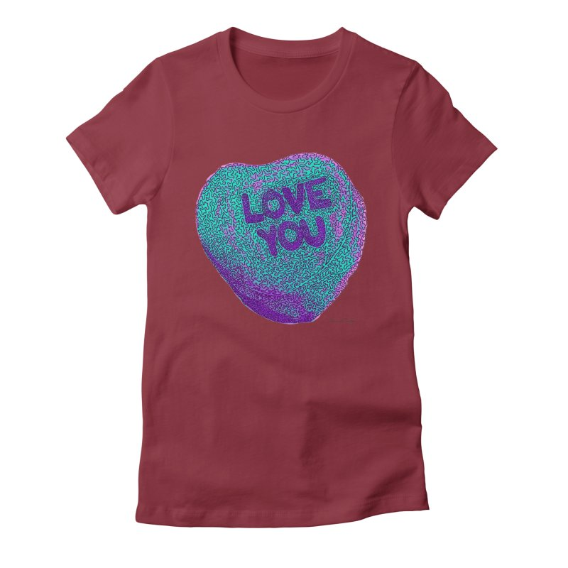 LOVE YOU Electric Mint Women's Fitted T-Shirt by Daniel Dugan's Artist Shop