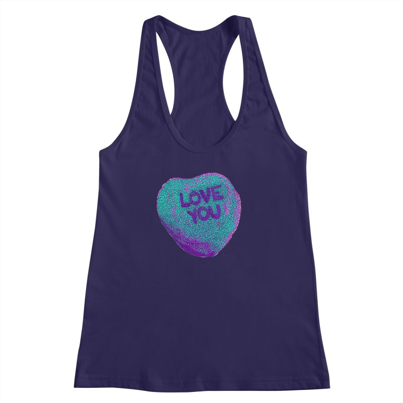 LOVE YOU Electric Mint Women's Racerback Tank by Daniel Dugan's Artist Shop