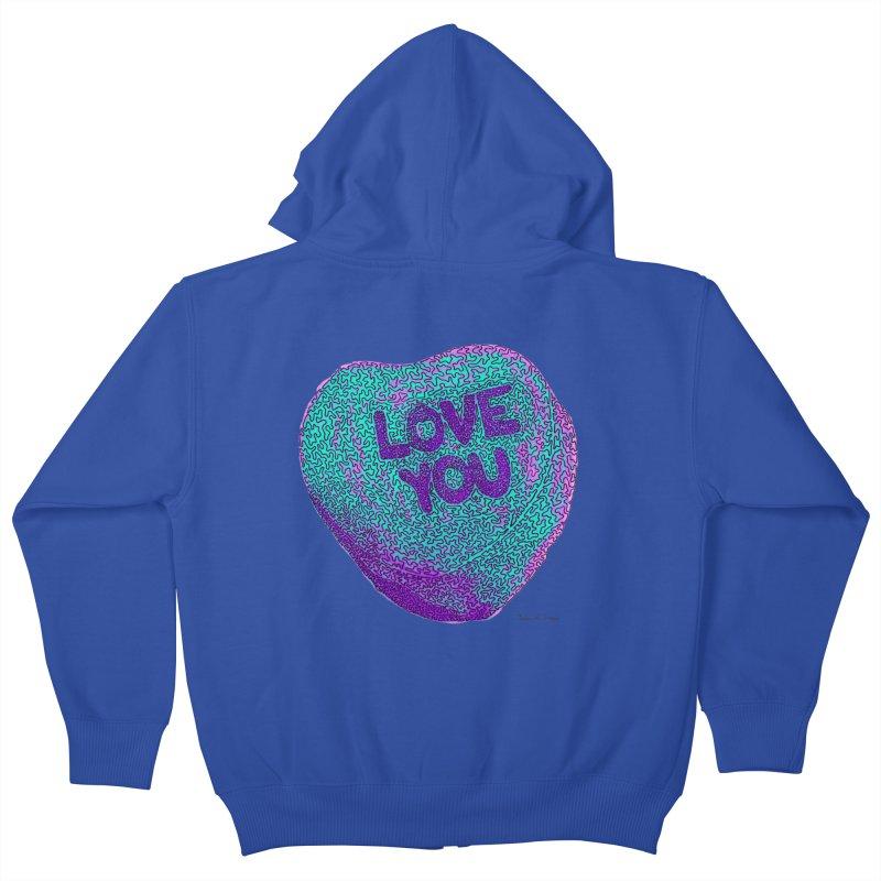 LOVE YOU Electric Mint Kids Zip-Up Hoody by Daniel Dugan's Artist Shop