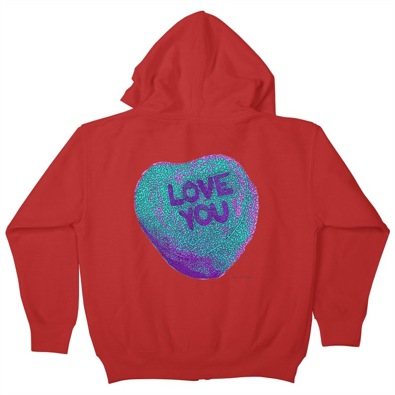 LOVE YOU Electric Mint Kids Zip-Up Hoody by Daniel Dugan's Artist Shop
