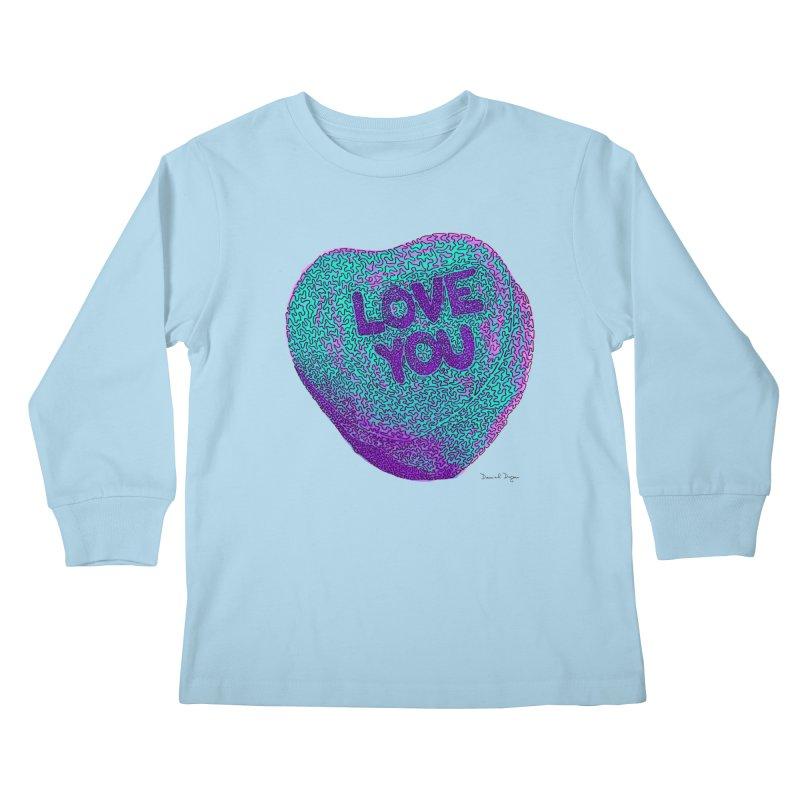 LOVE YOU Electric Mint Kids Longsleeve T-Shirt by Daniel Dugan's Artist Shop