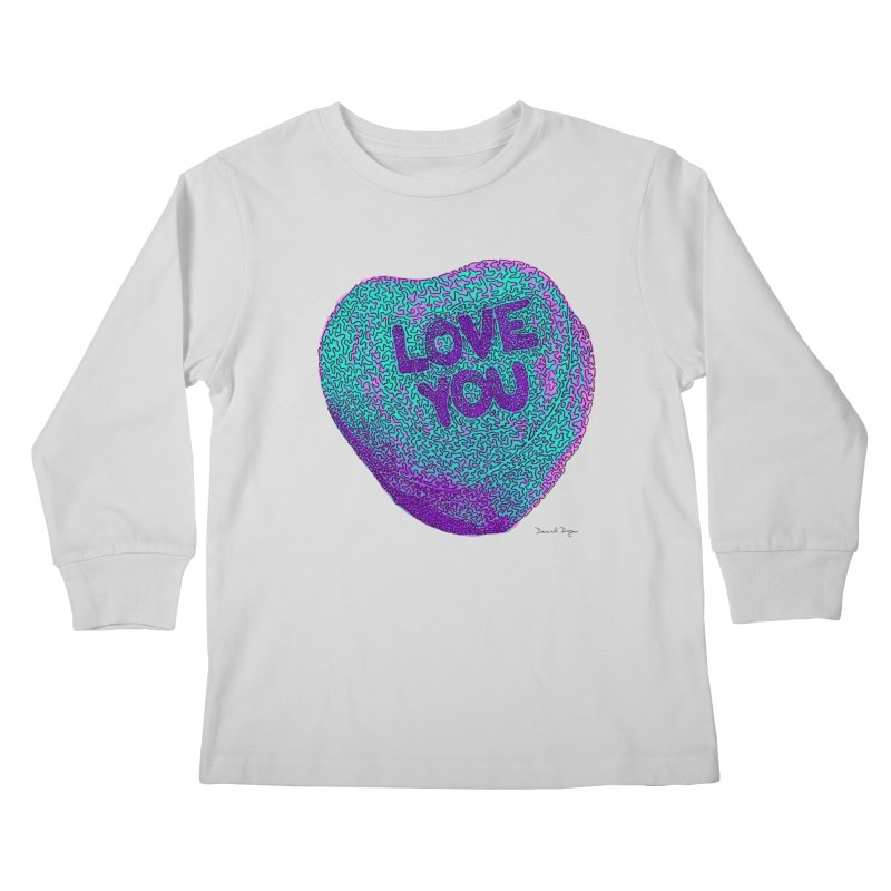 LOVE YOU Electric Mint Kids Longsleeve T-Shirt by Daniel Dugan's Artist Shop