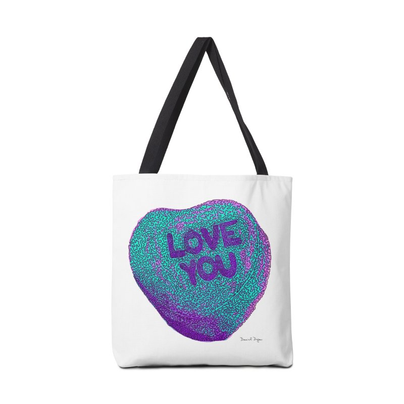 LOVE YOU Electric Mint Accessories Bag by Daniel Dugan's Artist Shop