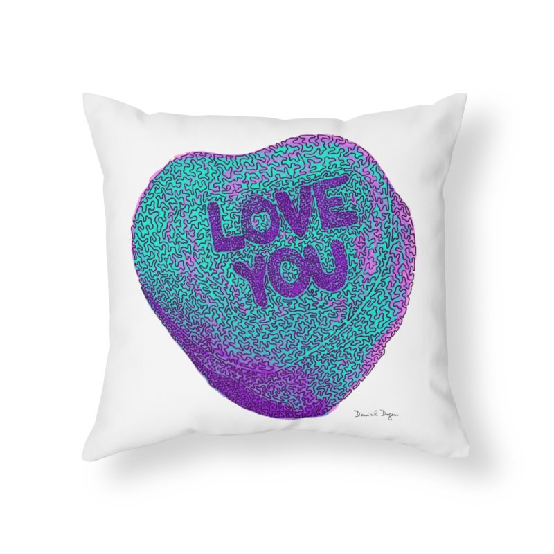 LOVE YOU Electric Mint Home Throw Pillow by Daniel Dugan's Artist Shop