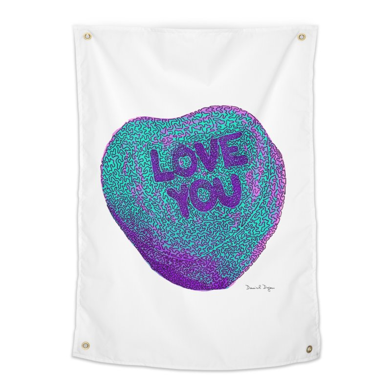 LOVE YOU Electric Mint Home Tapestry by Daniel Dugan's Artist Shop