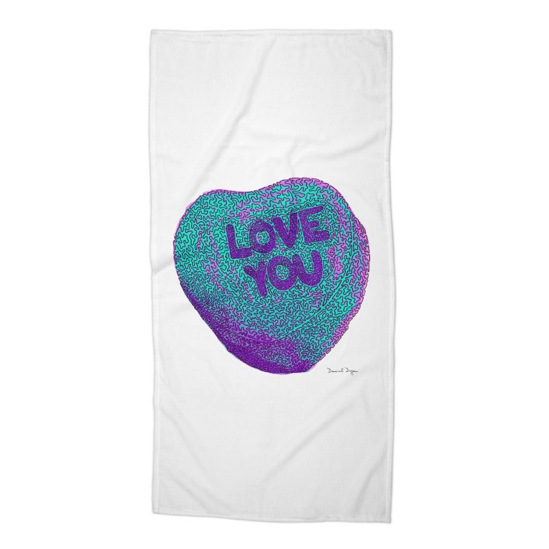 LOVE YOU Electric Mint Accessories Beach Towel by Daniel Dugan's Artist Shop