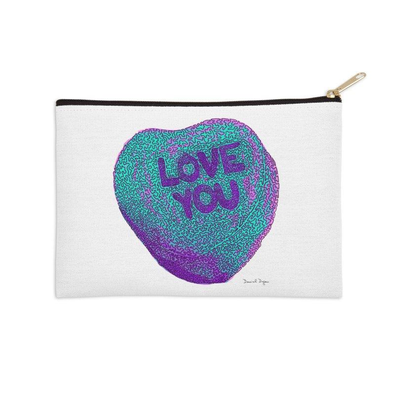 LOVE YOU Electric Mint Accessories Zip Pouch by Daniel Dugan's Artist Shop