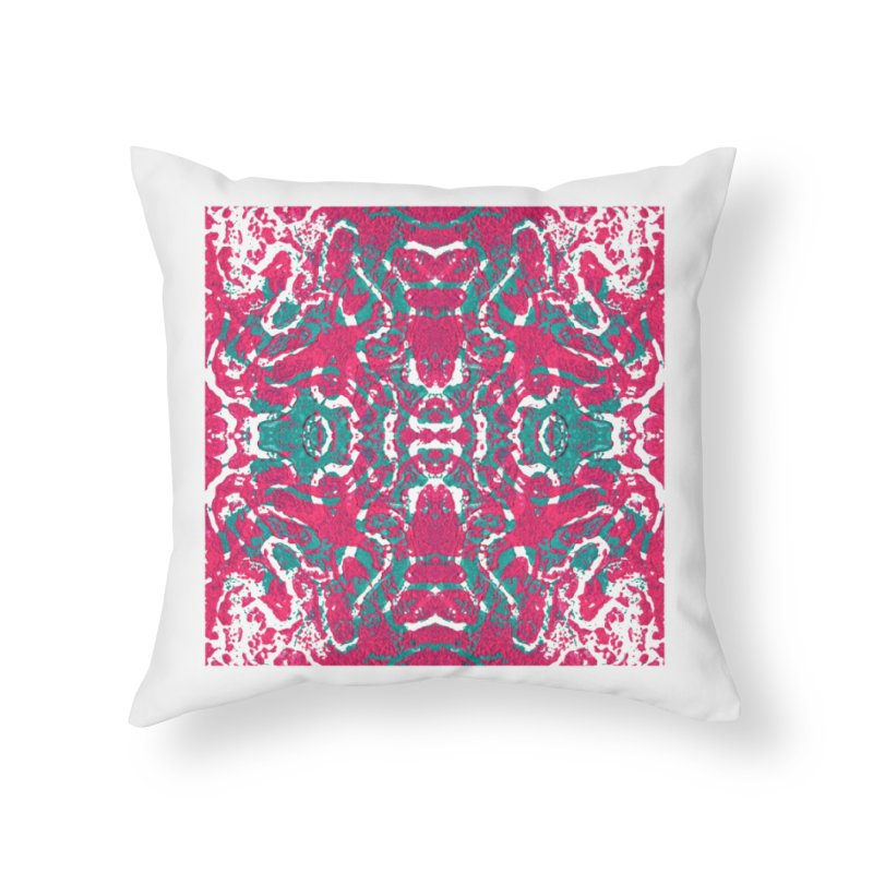 Magenta Teal Tile Home Throw Pillow by Daniel Dugan's Artist Shop