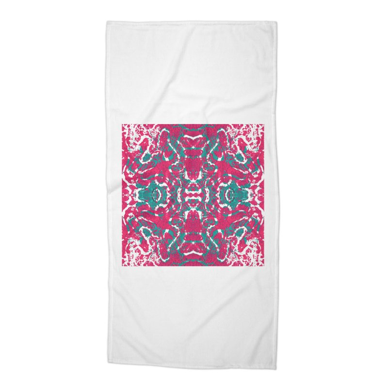 Magenta Teal Tile Accessories Beach Towel by Daniel Dugan's Artist Shop