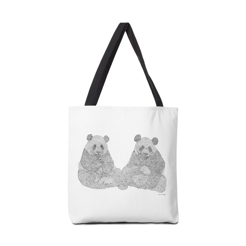 Playing Pandas BLACK AND WHITE Accessories Bag by Daniel Dugan's Artist Shop