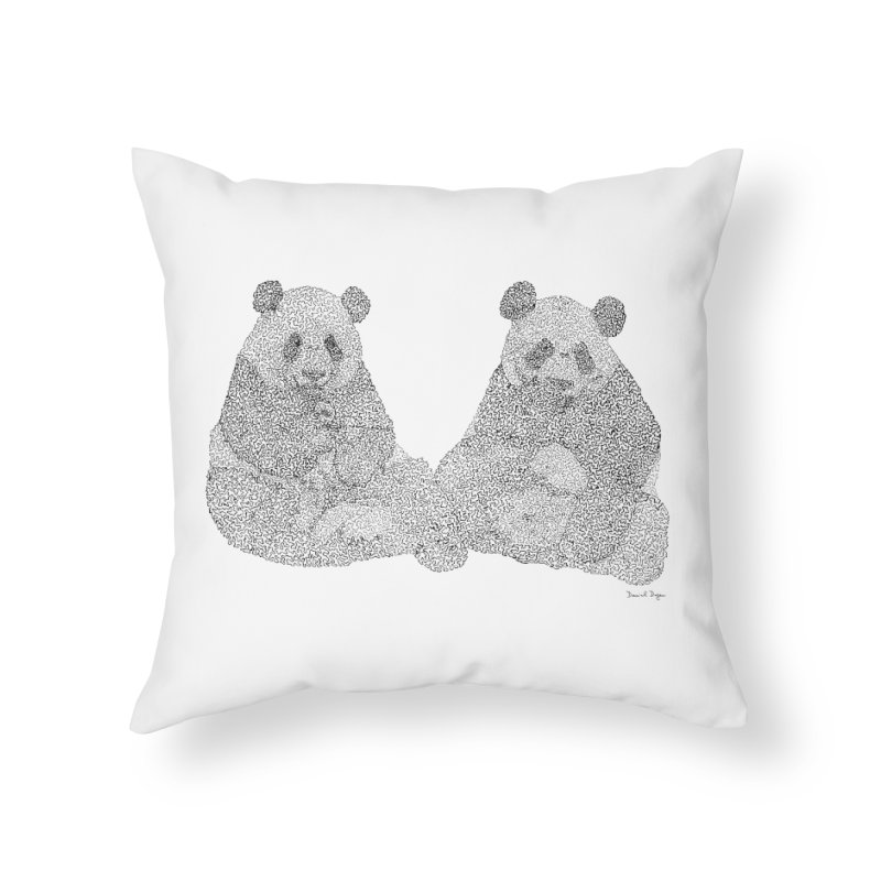 Playing Pandas BLACK AND WHITE Home Throw Pillow by Daniel Dugan's Artist Shop
