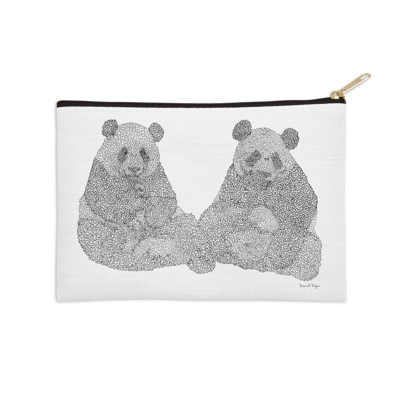 Playing Pandas BLACK AND WHITE Accessories Zip Pouch by Daniel Dugan's Artist Shop